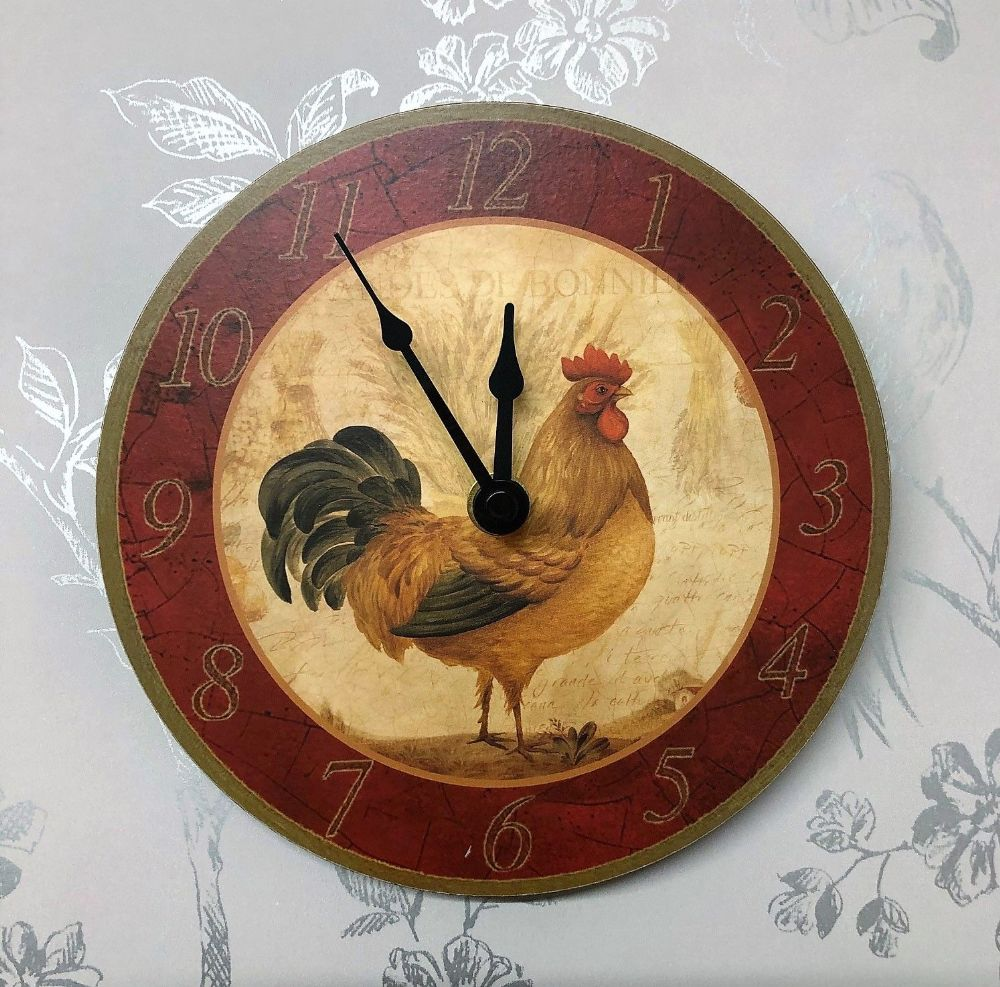 Rooster Small Kitchen Farmhouse Wall Clock 17 cm Facing Right